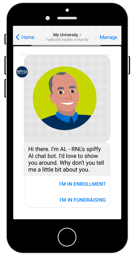 AL ai chatbot for enrollment and fundraising