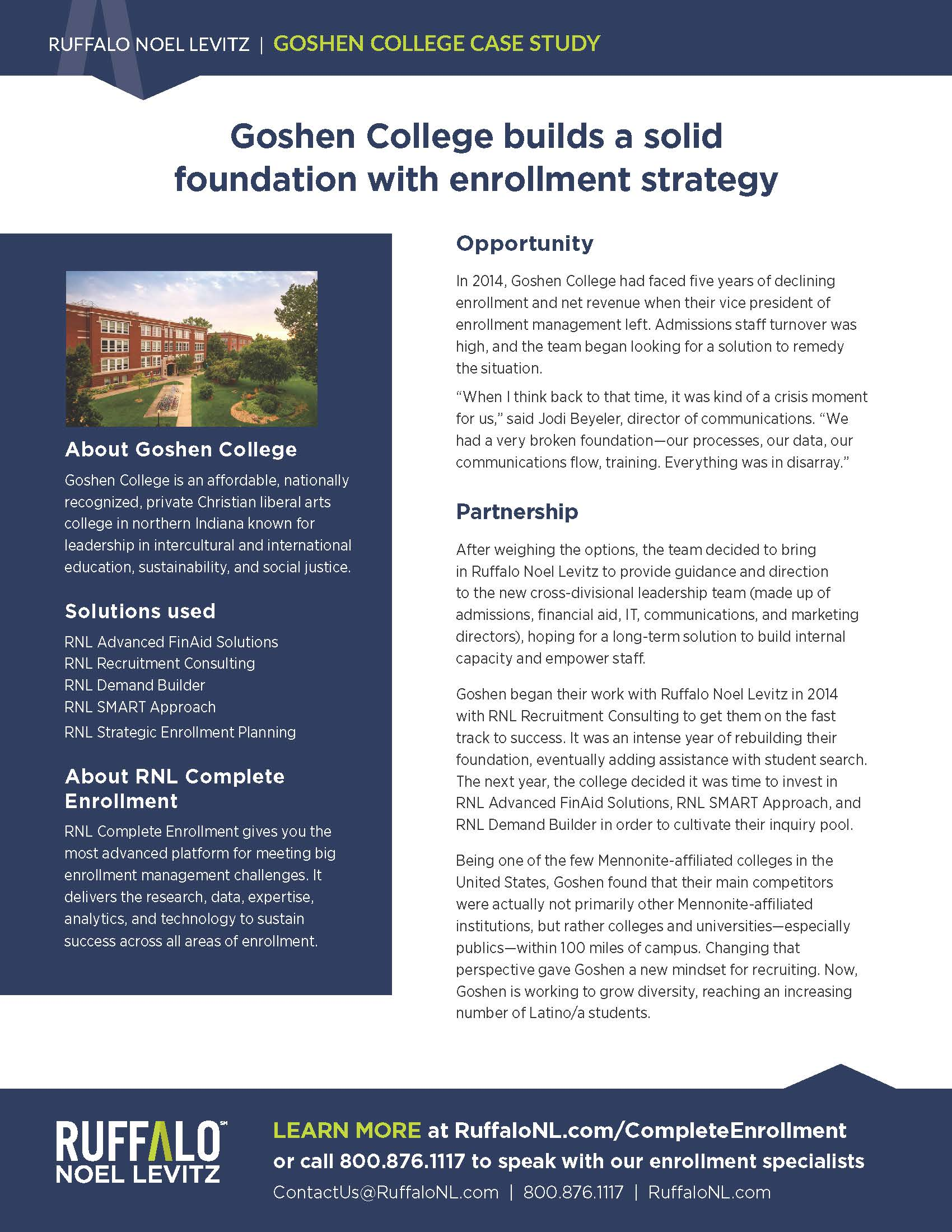 Goshen College enrollment marketing case study