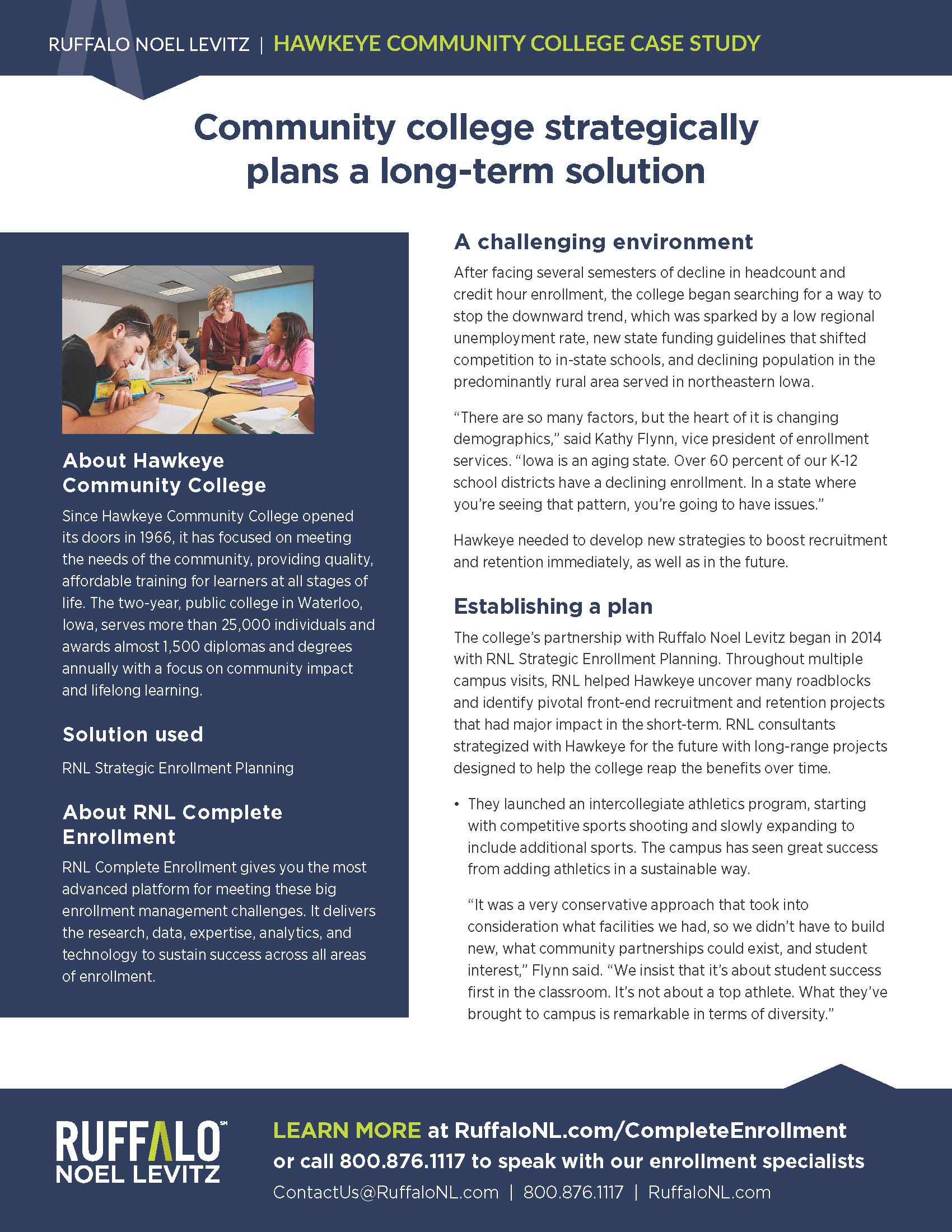 Hawkeye Community College enrollment marketing case study