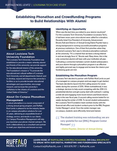 Louisiana Tech University Phonathon and Crowdfunding Case Study
