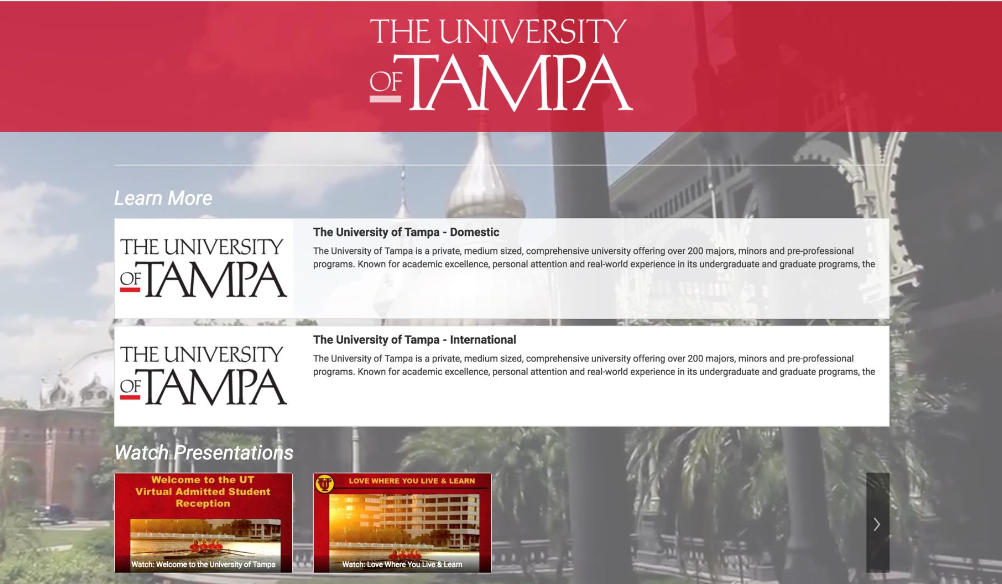 The University of Tampa has seen yield rate increases thanks to online engagement planning