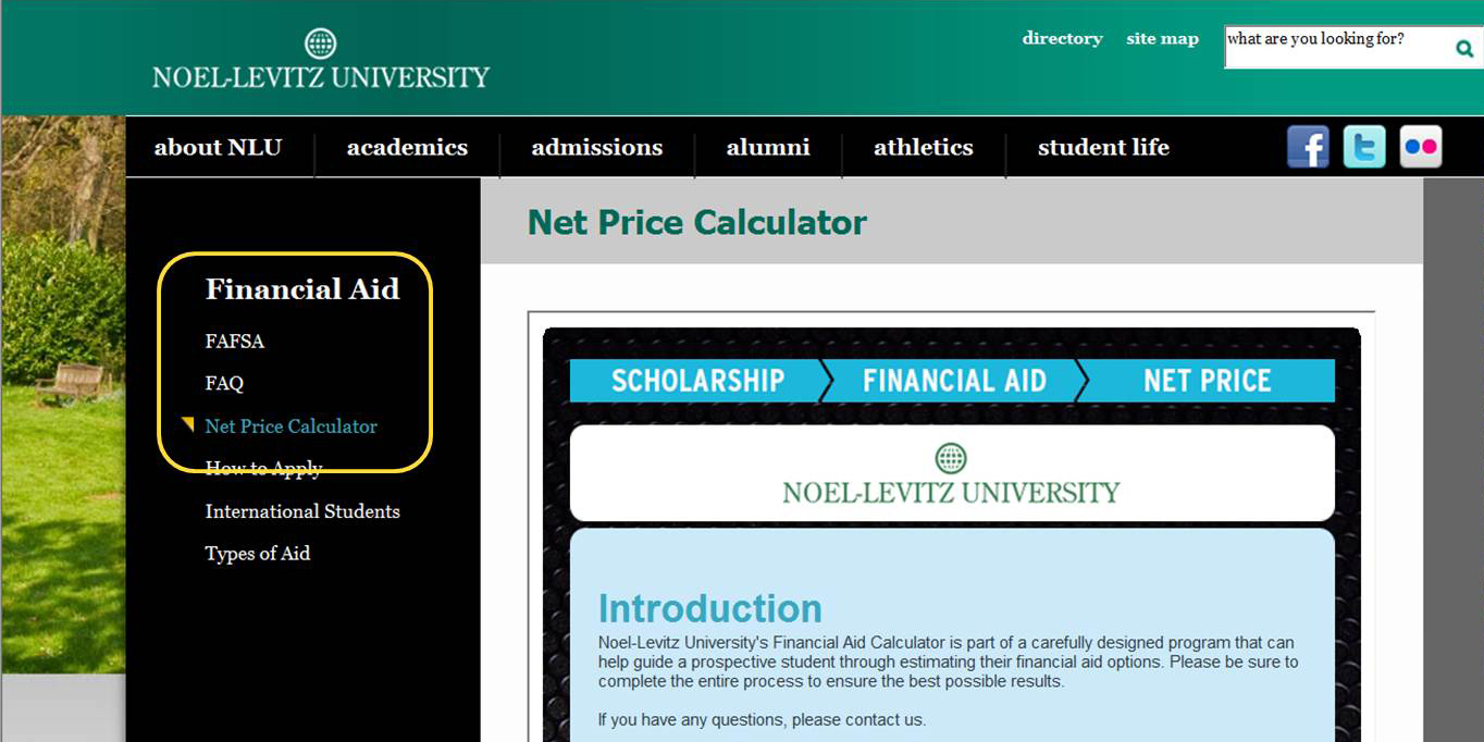 Placing a net price calculator on your campus Web site