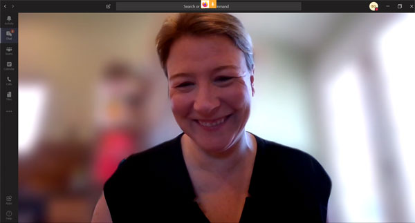 Meg Weber using blurring in video conferencing.