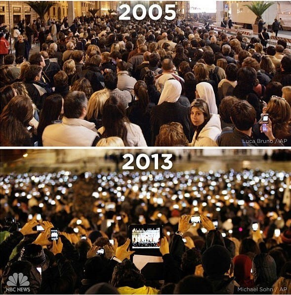 Donor engagement is changing along with technology. This photo of the from the 2005 and 2013 announcements of the pope shows how mobile devices have changed things.
