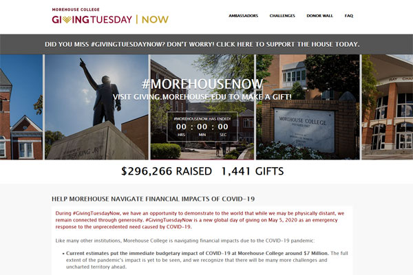 Morehouse College Giving Day example