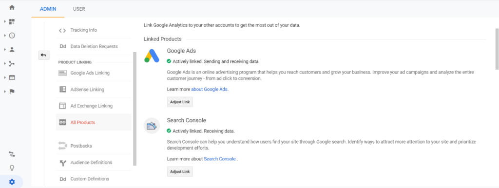 Google Analytics: Google AdWords and Google Search Console integration