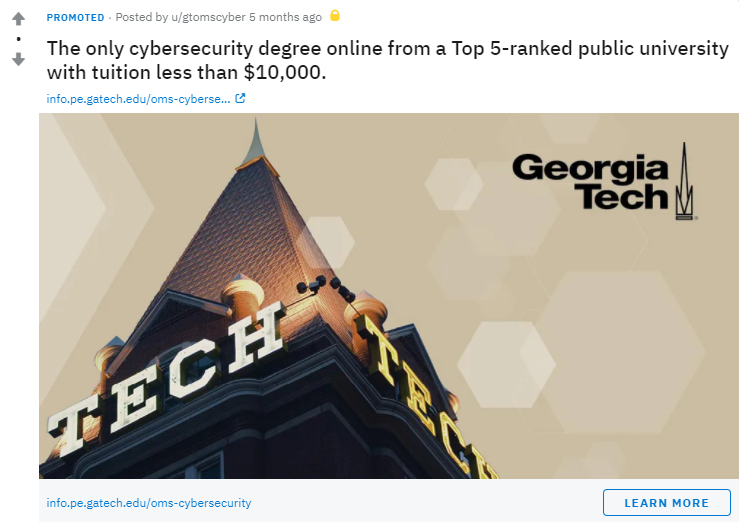 Reddit for Higher Education: Georgia Tech ad
