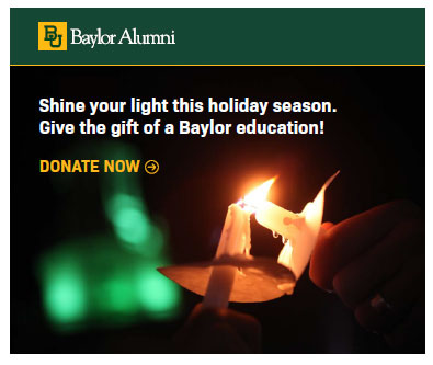 Digital advertising for fundraising: A holiday ad from Baylor University.