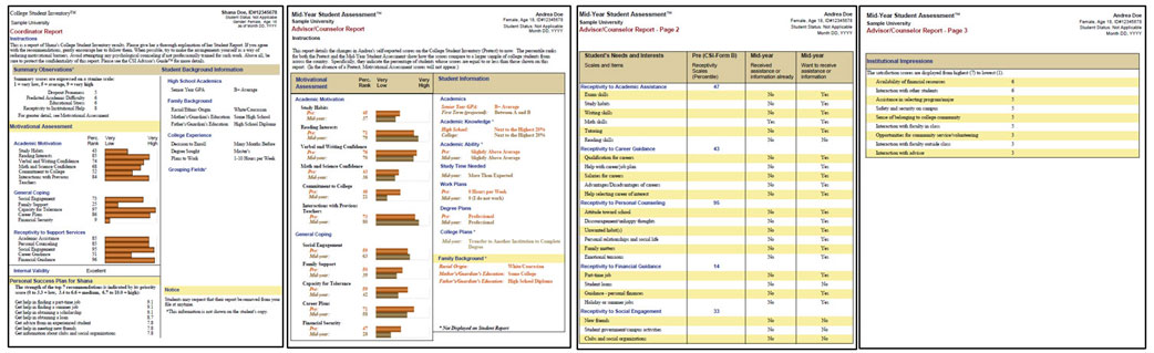Reports from the College Student Inventory and Mid-Year Student Assessment
