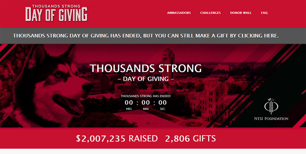 Online Giving Campaigns of 2020: Northern Illinois University