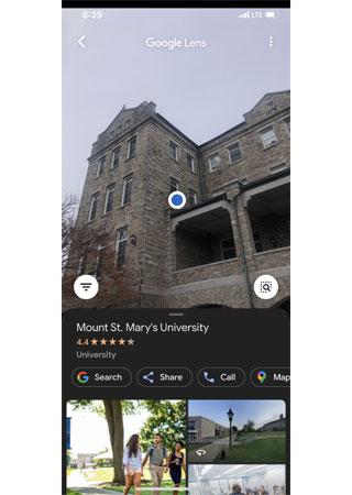 Google Lens for Mount St. Mary's University
