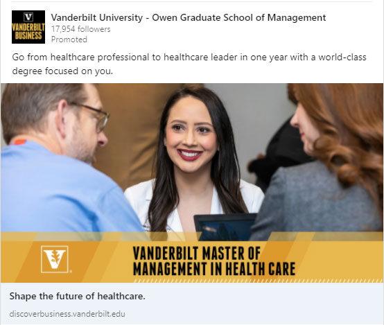 Vanderbilt University Graduate Marketing Case Study: LinkedIn Ad