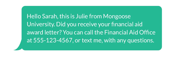 Texting exchange with a student about their financial aid