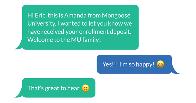 Example of a follow-up text with a student who deposited.